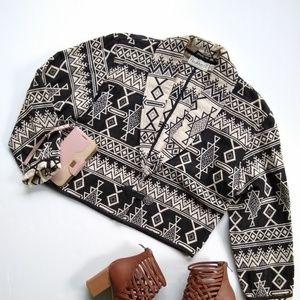 Vintage • woven boho Aztec tribal cropped blazer
